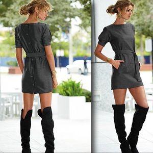 Venus Grey Herringbone Button Back Shirt Dress